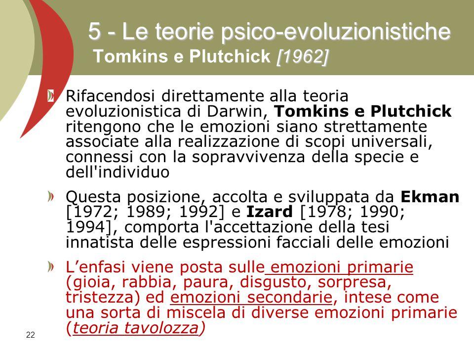 5 - Le teorie psico-evoluzionistiche Tomkins e Plutchick [1962]